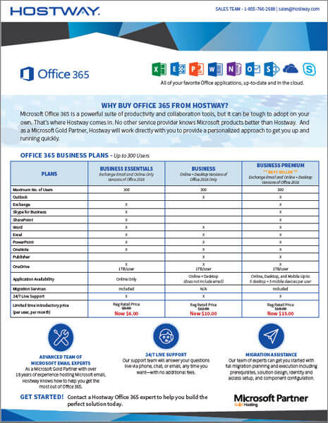 Hostway: Brochure – Office 365 Pricing