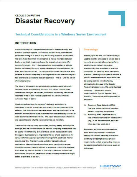 White Paper - Cloud Can Be Leveraged for Disaster Recovery